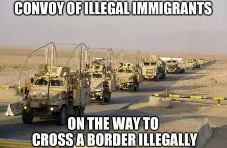 Illegal convoy with immigrants